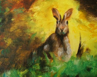 Oil Painting Rabbit Animal Fine Art Signed Original