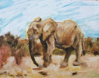 Oil Painting Elephant Animal Fine Art Signed Original