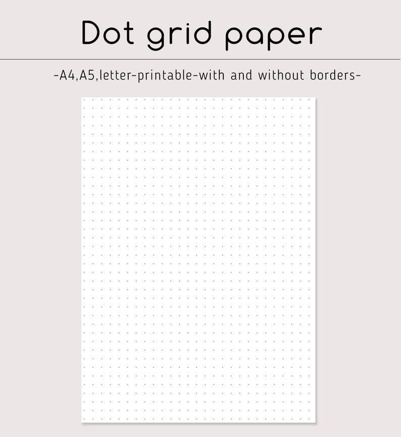 photo regarding A5 Dot Grid Printable called Dot grid paper Bullet Magazine paper Printable A4, A5, Letter Ring planner Refill