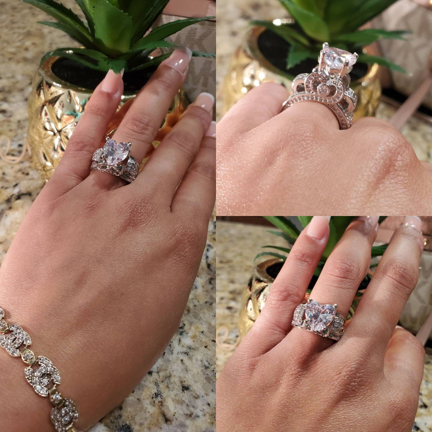 Xoxo hugs kisses Icy Heart rings Stackable rings, adjustable rings, cluster rings, dainty stackable rings, open ring, floral ring engagement