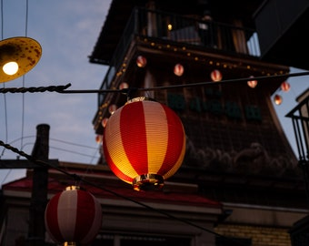 Paper Lanterns,Lights,Warm,Serene,Tower,Dusk,Asia,Digital Download,Photo,Art,Wall Art,Photography,Printable Download,Japan,Tokyo,