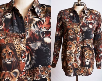 Tiger Leopard Art Print Breathable Comfortable Silky Long Sleeves Ladies Dress Business Smock Blouse Shirt