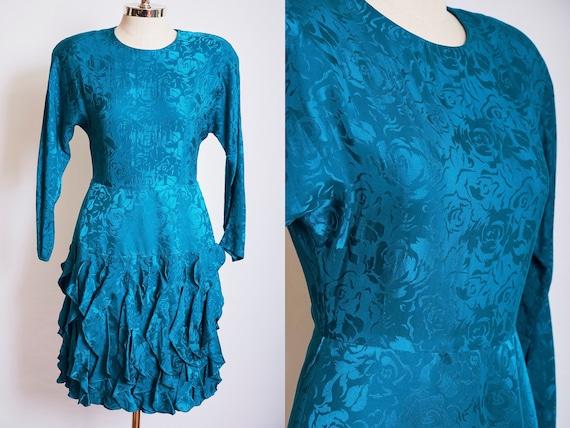 Vintage 80s silk teal dress turquoise rose cocktai