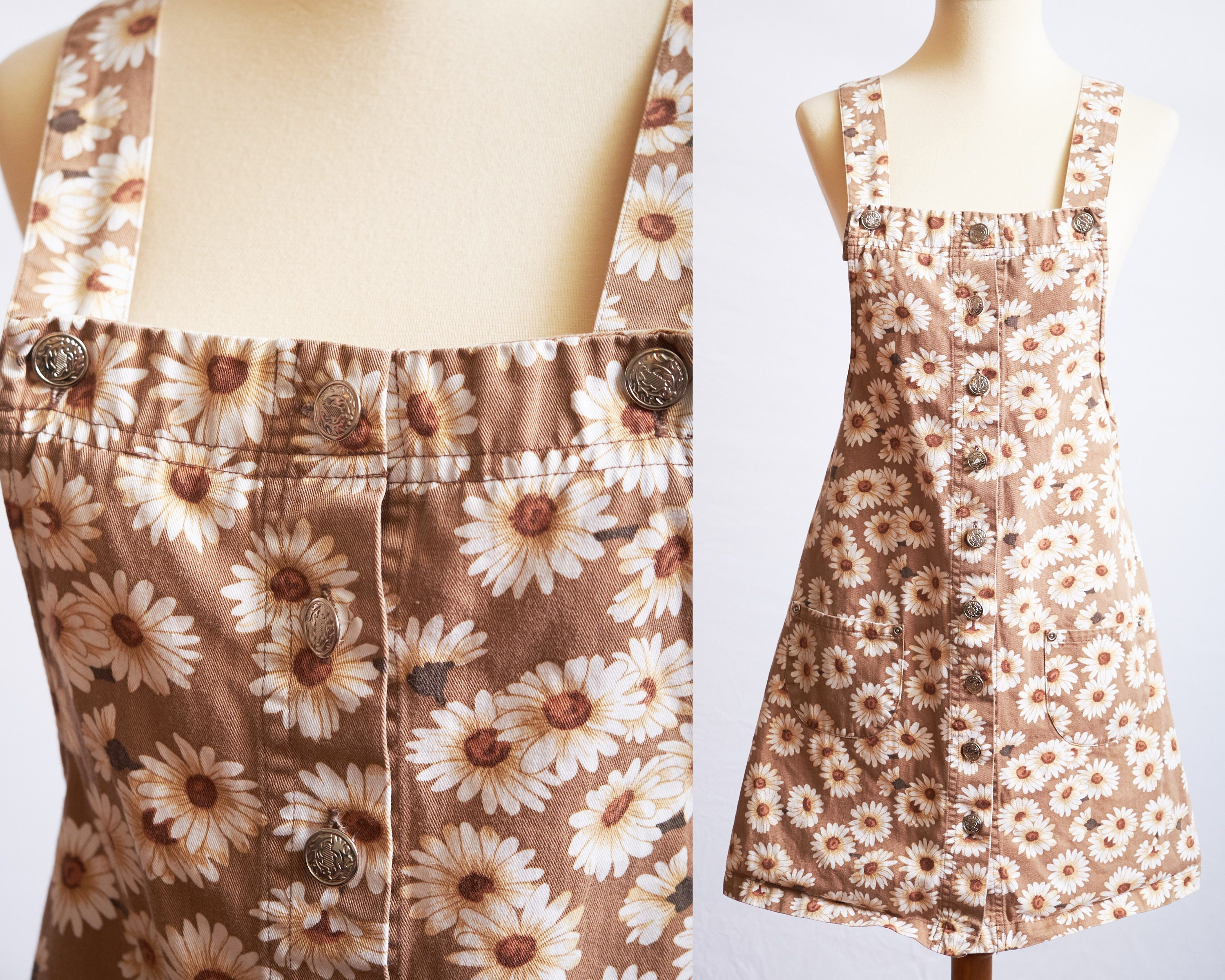 Vintage Overalls & Jumpsuits Vintage 90S Overall Dress Button Up Short Mini Denim Jean Floral Taupe Daisy Cottagecore Summer Sleeveless Retro Overalls $8.00 AT vintagedancer.com