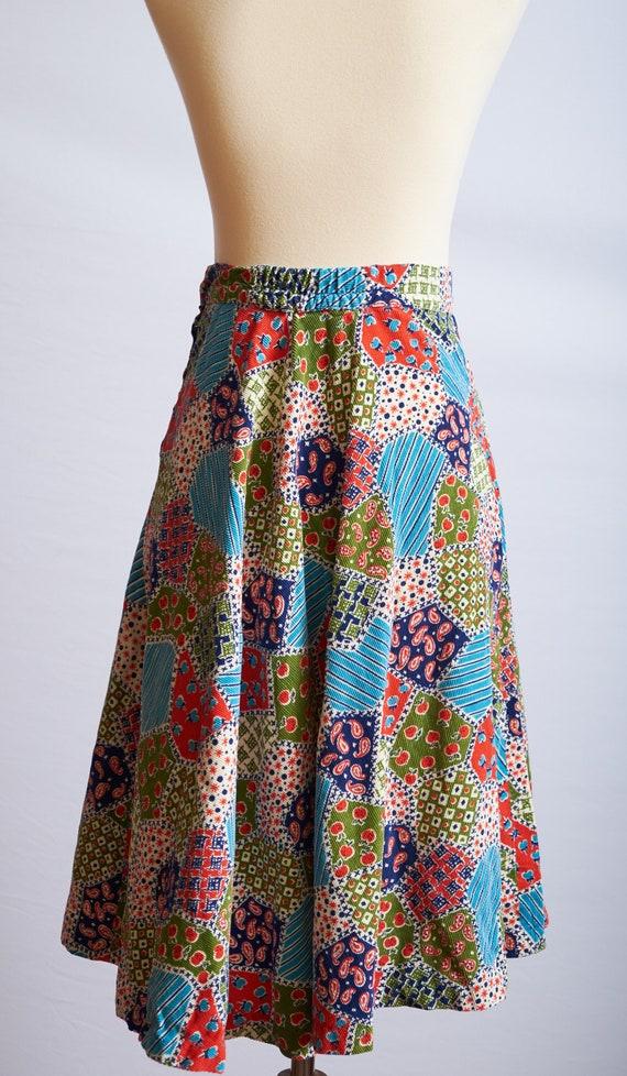 Vintage 60s 70s patchwork skirt corduroy a-line b… - image 3