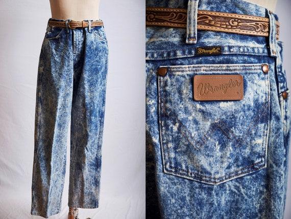 Vintage 80s wrangler acid wash stonewashed jeans d