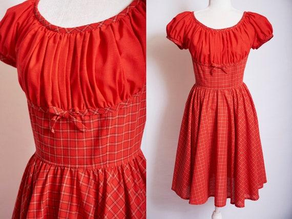 Vintage 50s red pinup dress sundress plaid gathere