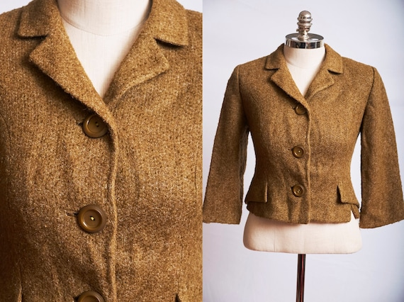 Vintage 50s suit jacket blazer wool boucle olive g