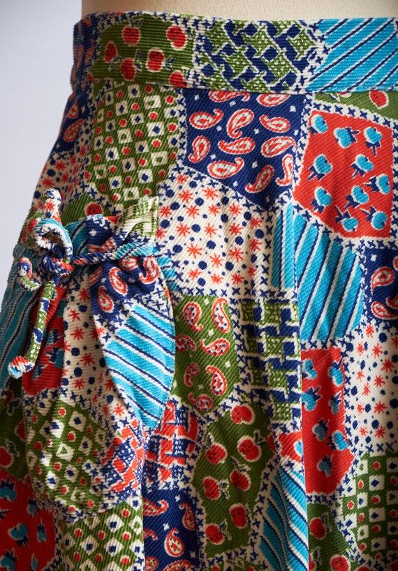 Vintage 60s 70s patchwork skirt corduroy a-line b… - image 6