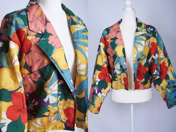Vintage 80s 90s tropical pineapple hibiscus wide s