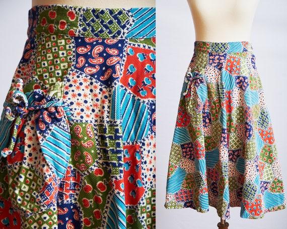 Vintage 60s 70s patchwork skirt corduroy a-line b… - image 1