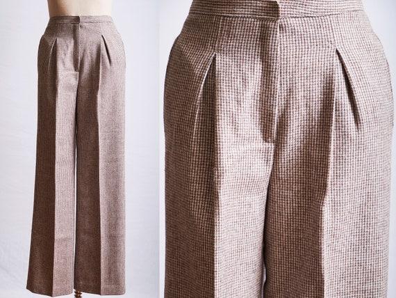 Vintage 70s tweed pants deadstock high waist beige
