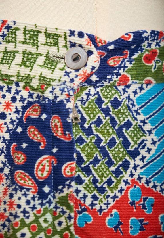 Vintage 60s 70s patchwork skirt corduroy a-line b… - image 9