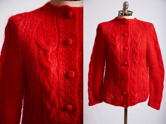 Vintage 60s sweater mod red mohair wool italy long