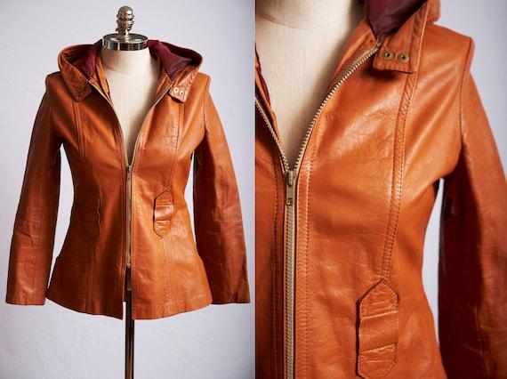 Vintage 70s orange leather jacket mod hooded zip u