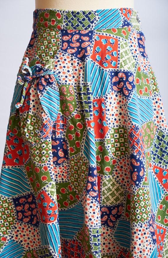 Vintage 60s 70s patchwork skirt corduroy a-line b… - image 5