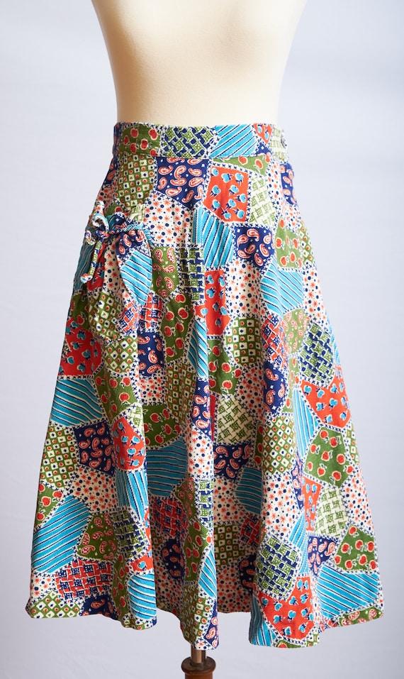 Vintage 60s 70s patchwork skirt corduroy a-line b… - image 2