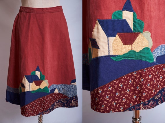 Vintage 70s wrap skirt applique patchwork skirt sc