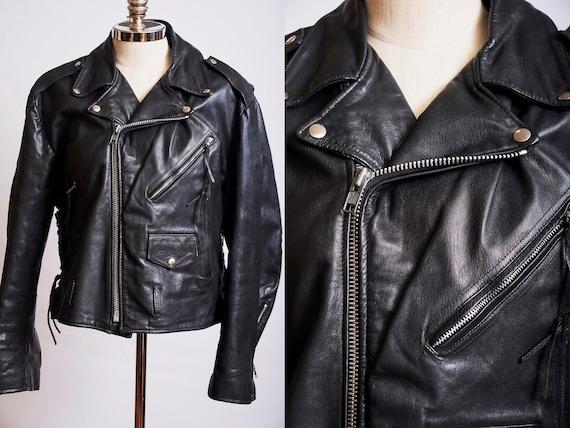 Vintage 80s motorcycle jacket black large moto bik