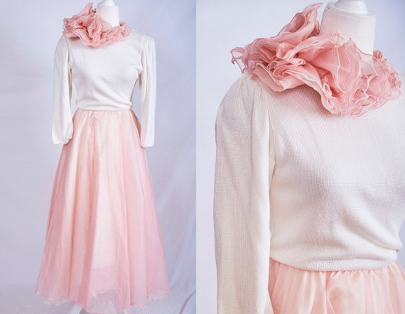 Vintage 70s 80s pretty in pink dress ruffle abstra