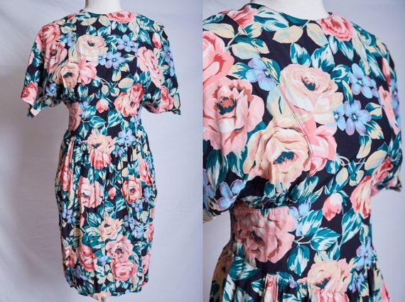 Vintage 80s 90s floral easter dress roses peonies
