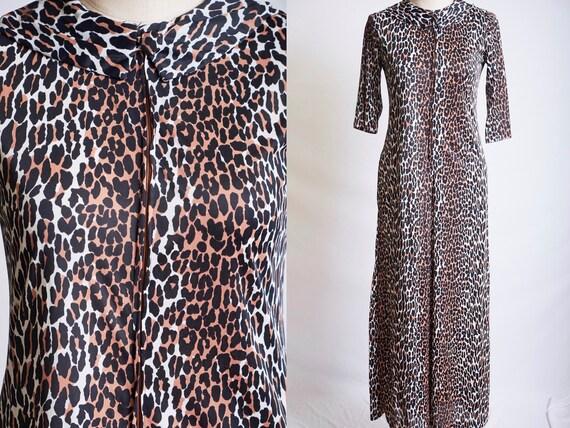 Vintage 60s 70s leopard jumpsuit animal print romp