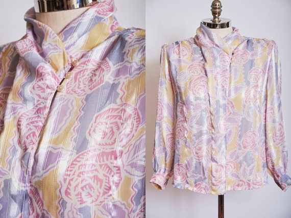 Size S  M Floral Blouse Vintage 1980s Pleated Puff Sleeve Pastel Gray Elbow Length Taupe Spring Summer 80s Classic Romantic Top Sheer