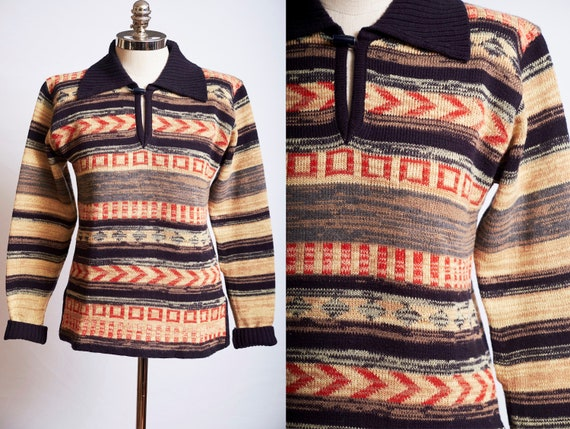 Vintage Blue 70s Sweater Aztec Design Long Tunic Pullover with Belt  Acrylic Size Small