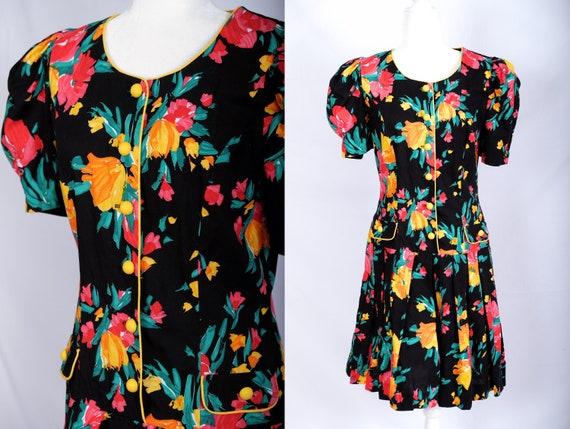 Vintage 80s 90s tropical romper culotte colorful s