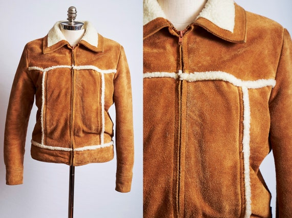 Vintage 70s 80s suede leather jacket coat sherpa w