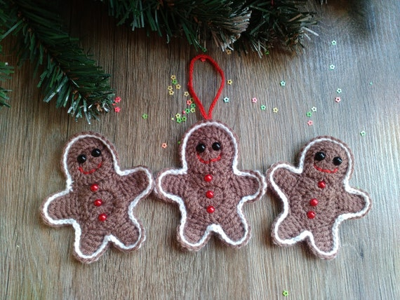 Coffee Christmas Ornaments.Gingerbread Man Crochet Christmas Ornaments Coffee Brown Decor For New Year Eve Table Festive Decor Fairytale Toy Soft Gift For Kids
