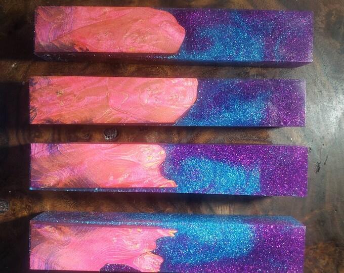 Dye stabilized maple burl hybrid pen blanks. Glitter swirl