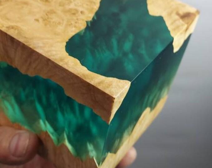 PREMIUM stabilized maple burl hybrid cube.