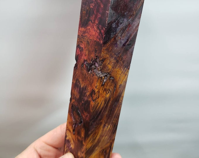 Dye stabilized maple burl block.