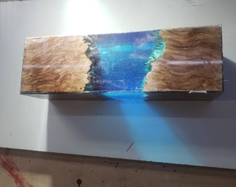 Large hybrid blank with stabilized maple burl and two tone blue resin with bubbles. Ocean wave blank