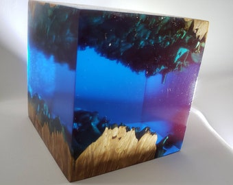 Beautiful stabilized maple burl and ocean blue alumilite cube.