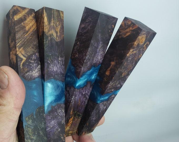 Beautiful stabilized maple burl hybrid pen blanks.