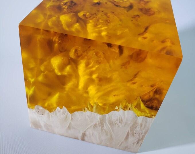 Stabilized maple burl hybrid cube. Sunshine yellow