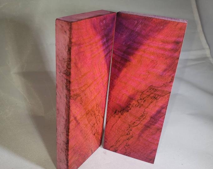 Double dye stabilized maple burl knife scales.