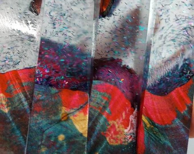 Dye stabilized maple burl hybrid pen blanks.