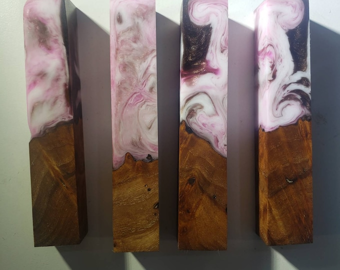 Dye stabilized hybrid elm burl pen blanks.