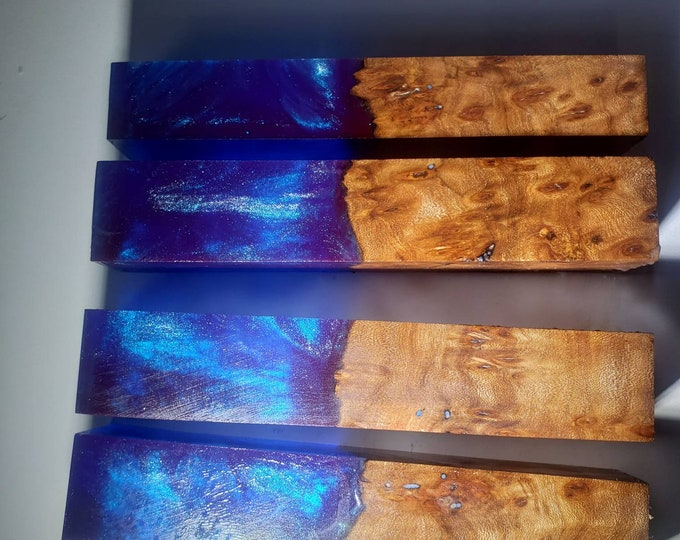 Dye stabilized elm burl hybrid pen blanks.