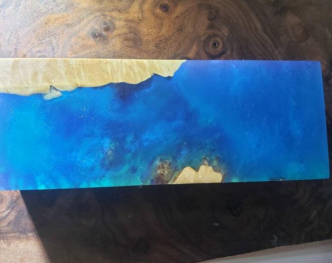 Stabilized maple burl hybrid block. Shimmering blue