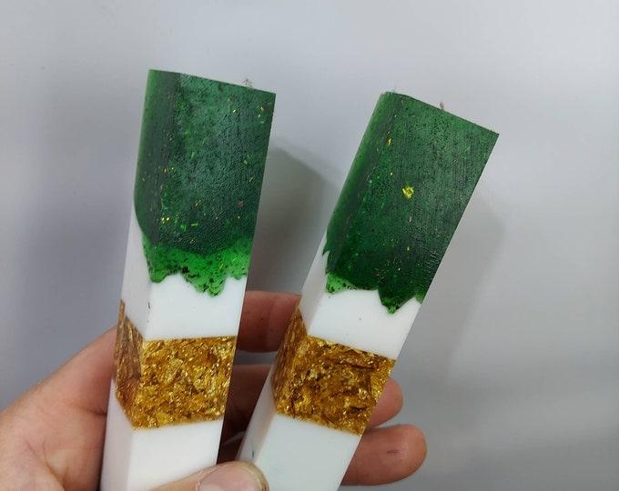100% Alumilite resin pen blanks. Green glitter white, gold, and purple