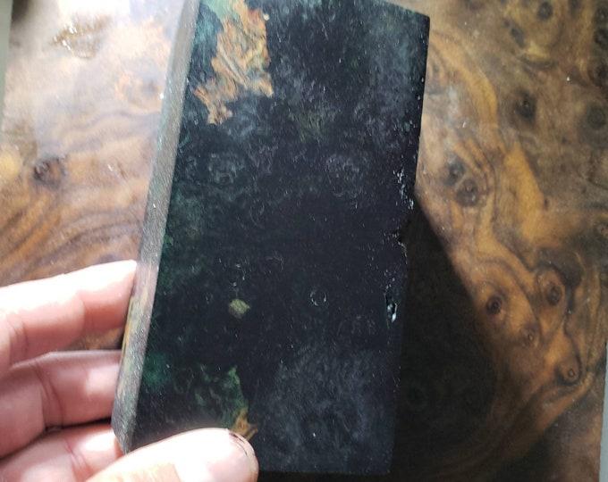 Multi-dye stabilized maple burl block.