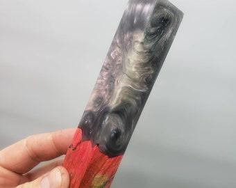 Dye stabilized maple burl hybrid pen blank.