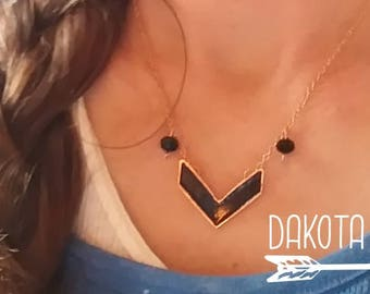 ARROW Necklace / Tribal Necklace/ Boho Necklace/ Geometric Necklace/ Gold Necklace/ Black Necklace/ Beaded Necklace/ Minimalist Jewelry/