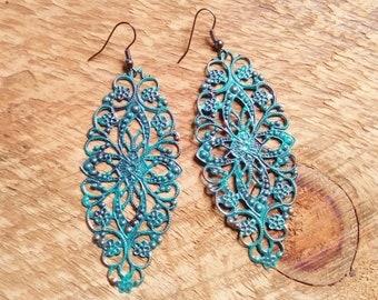 Patina Earrings / Statement Earrings/ Turquoise Earrings/ Boho Earrings/ Long Earrings/ Gift For Her/ Mandala Earrings/ Lightweight Earrings