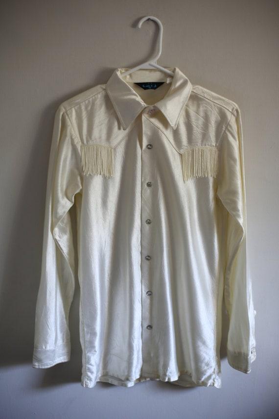 1970s White Western Mens Fringe Shirt