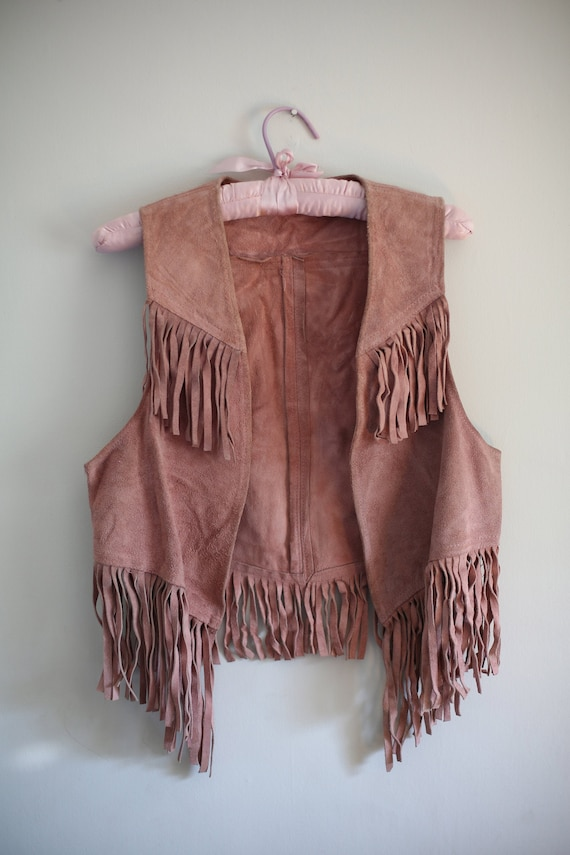 1970s Pink Suede Fringe Vest Sasson